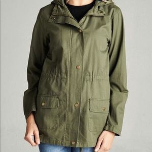 Jackets & Blazers - Olive Hooded Drawstring Utility Jacket